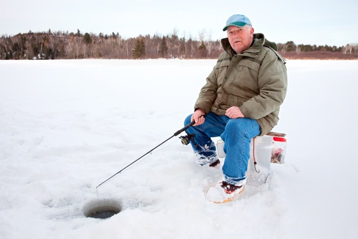 ice fishing in the lake